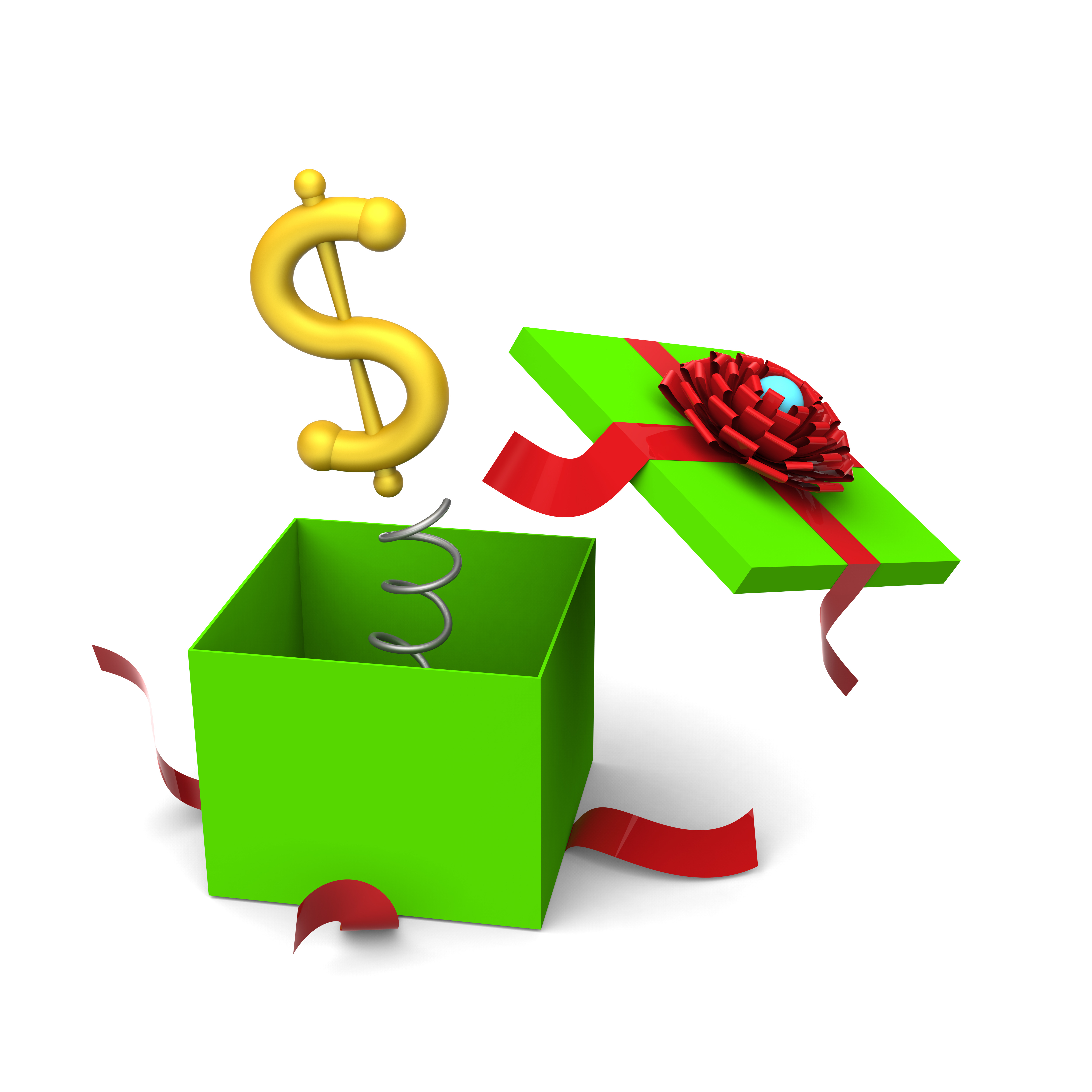 3D of dollar symbol springing out from a green gift box