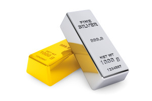 Gold and silver bars on a white background