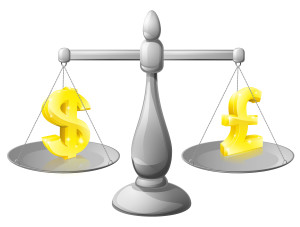 Scales currency concept, foreign exchange forex concept, dollar and pound signs on scales being weighed against each other