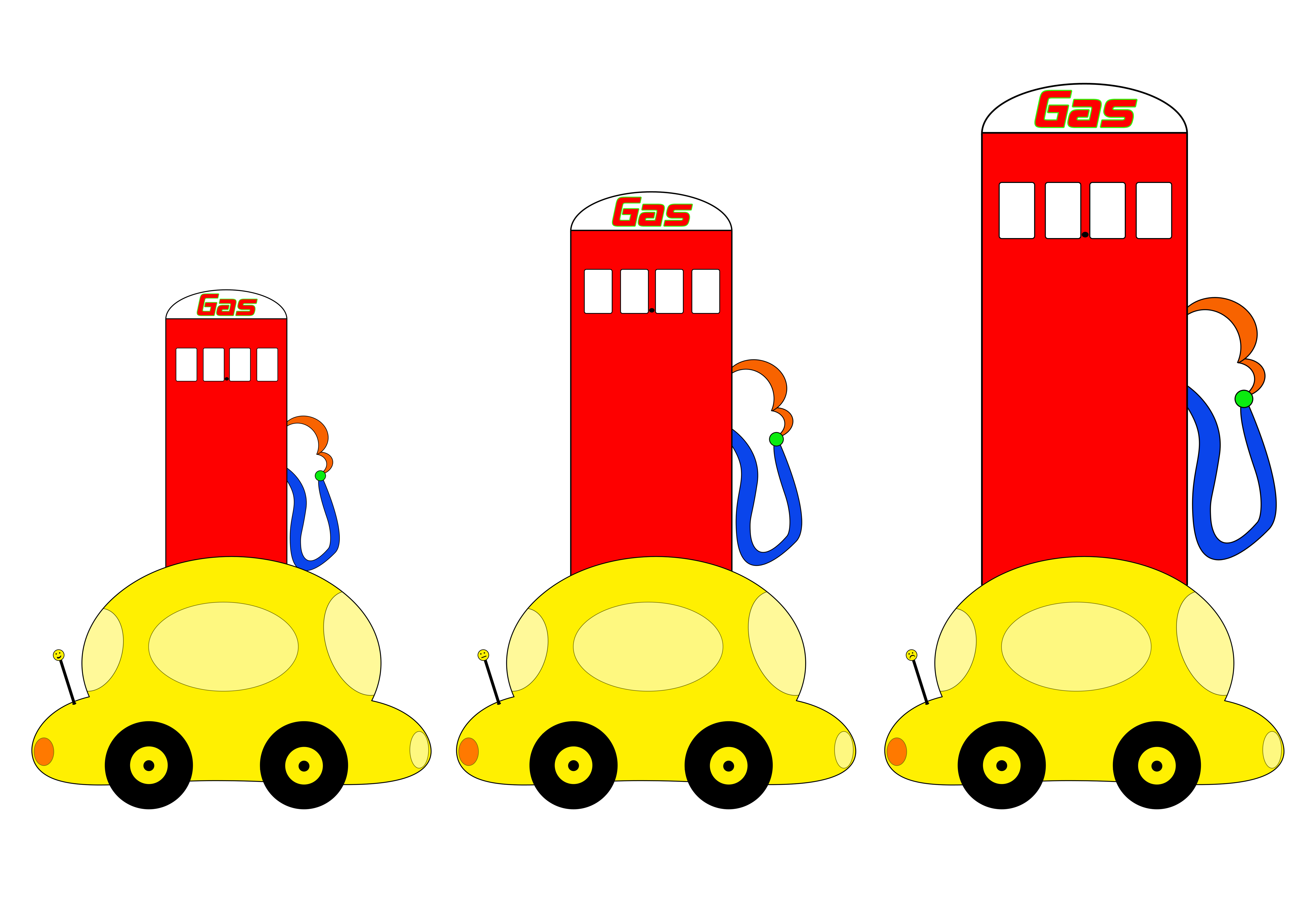 Bright and colorful cartoon cars in front of gas pumps that keep increasing in size.  Spaces where the prices would be are left blank.  Antenna decoration is smiling then progresses to a frown at the largest gas pump.