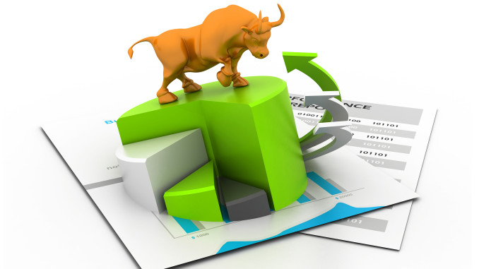 Economical business chart and bull