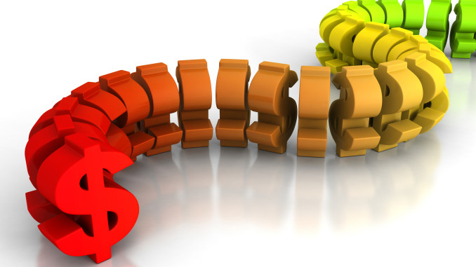 Big Red Dollar Currency Symbol Way Forward. Business Financial Concept 3d Render Illustration